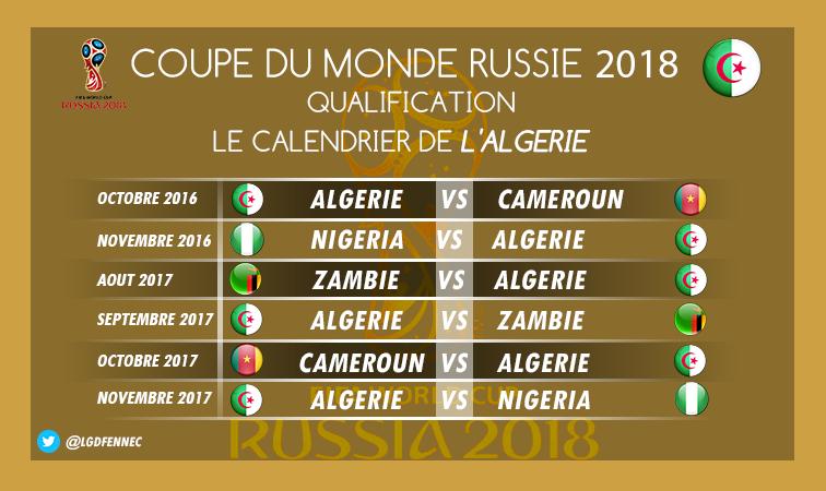 calendrier Algérie WC 2018