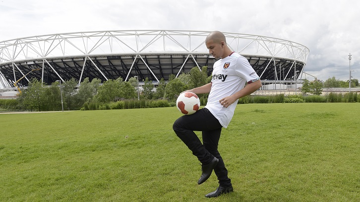 LONDON, ENGLAND - JUNE 14: West Ham United Unveil New Signing Sofiane Feghouli at QEOP on June 14, 2016 in London, England. (Photo by Arfa Griffiths/West Ham United via Getty Images)