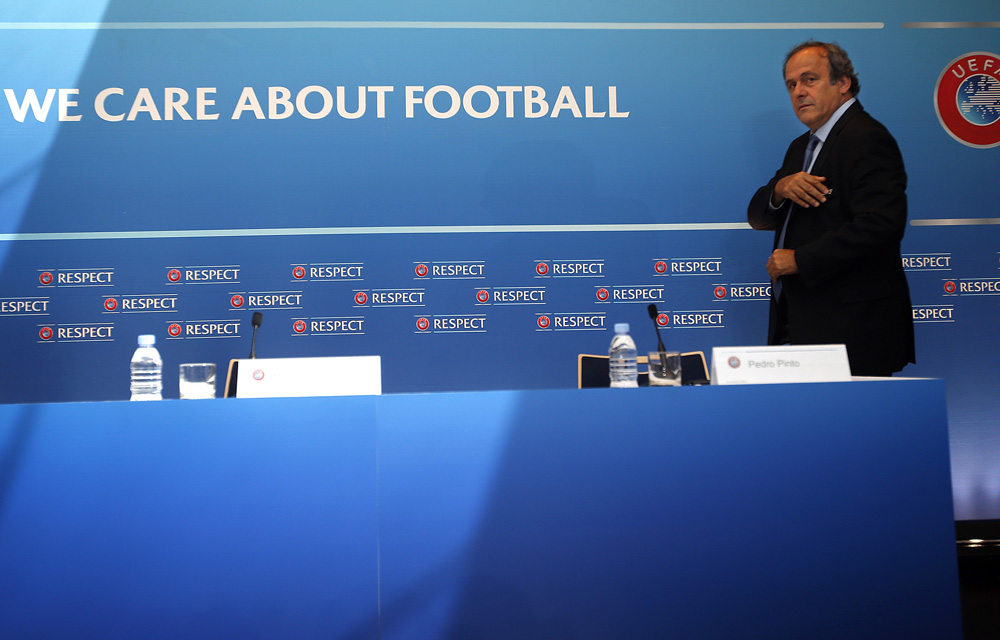 UEFA President Platini attends a news conference after the draw for the 2015/2016 UEFA Europa League soccer competition at Monaco's Grimaldi Forum in Monte Carlo