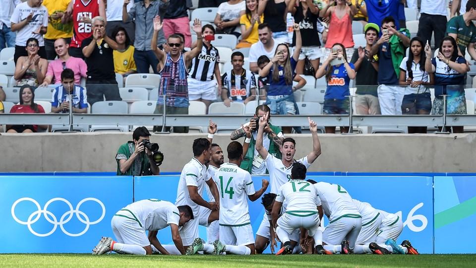 Portugal 1-1 Algérie JO 2016 8 joie célécbration Benkablia