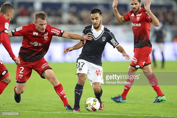 Adam Ounas of Bordeaux and Adam Lang of Dijon during the French Ligue 1 match between Bordeaux and Dijon at Stade Matmut Atlantique on November 26, 2016 in Bordeaux, France. (Photo by Manuel Blondeau/Icon Sport)