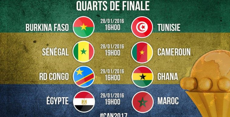 CAN 2017 : le tableau des 1/4 de finale
