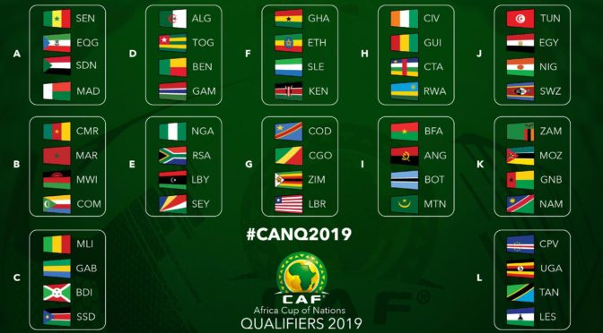 CAN 2019 : Composition des 12 groupes des qualifications