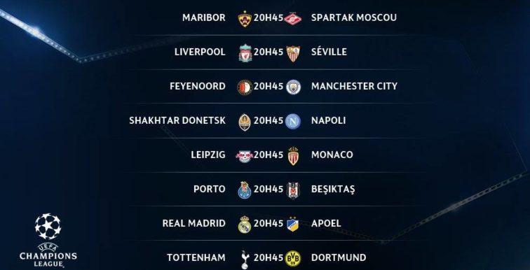 UEFA LDC : le programme de ce mercredi