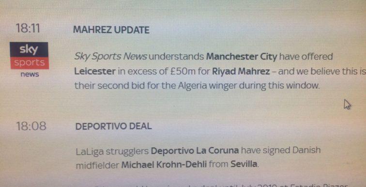 Mercato : Sky Sport confirme une offre de Man City pour Mahrez