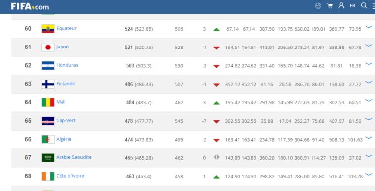 Classement FIFA : L'Algérie perd deux places