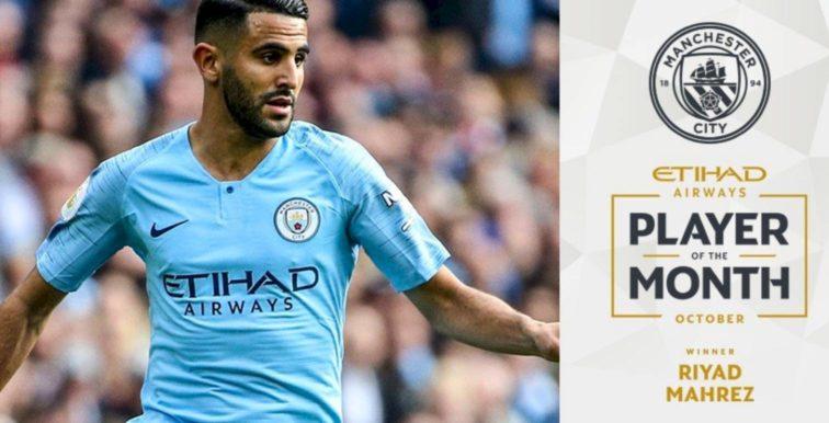 Manchester City : Mahrez désigné joueur du mois d'octobre