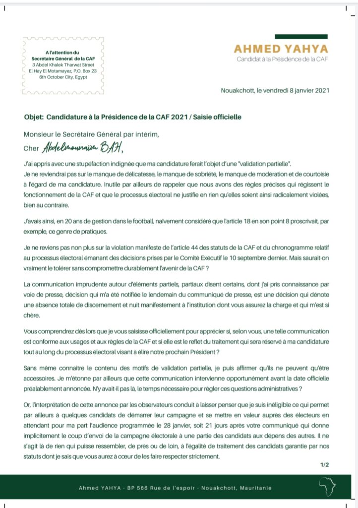 courrier ahmed yahya mauritanien caf