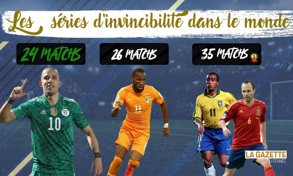 invicibilite records Équipe nationale algérie zimbabwe côte d'ivoire fennecs Brésil Espagne