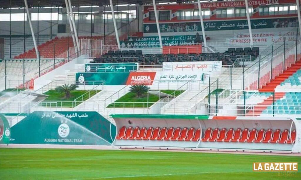 stade tchaker tribune officielle blida presse