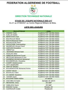 liste selection algerie U17 2 aout