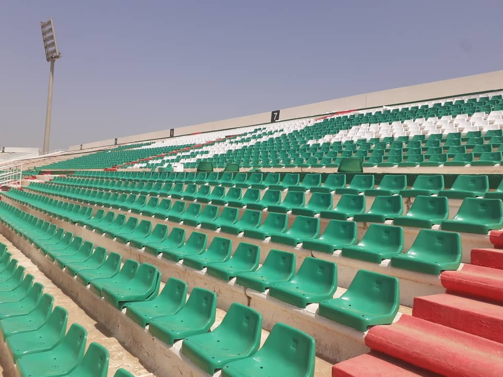 stade tchaker blida aout 2021 centre tribune vert rouge
